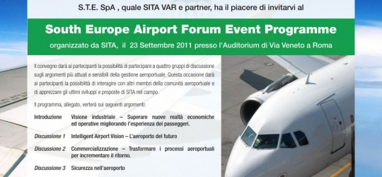 S.T.E. vi invita al 'South Europe Airport Forum Event Programme'