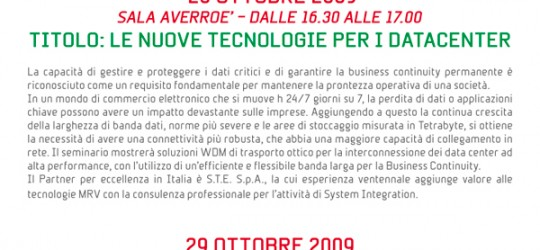 "S.T.E., insieme al Partner MRV, vi invita all'Evento ""TECHNOLOGY BITZ"""